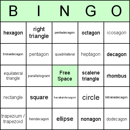 2D Shapes Bingo Card