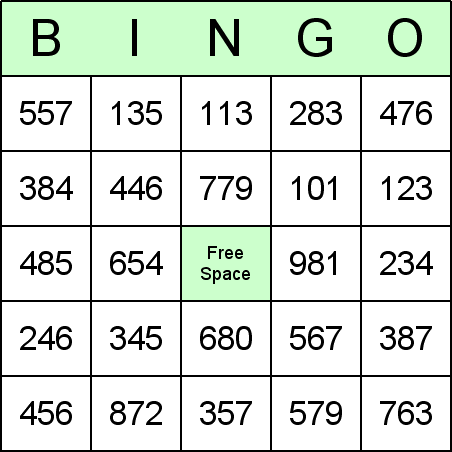 Long Division Bingo Card